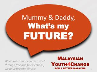 M ALAYSIAN Y OUTH 4 C HANGE FOR A BETTER MALAYSIA