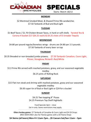 MONDAY $2 Montreal Smoked Meat, & Shaved Prime Rib sandwiches