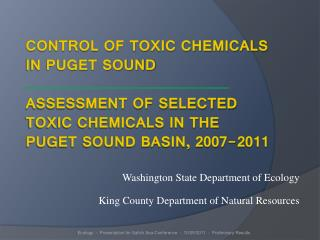 Washington State Department of Ecology King County Department of Natural Resources
