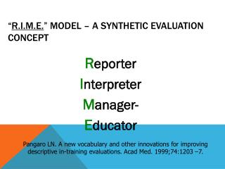 """ R.I.M.E. ""  model – a synthetic evaluation concept"