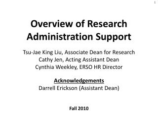 Overview of Research Administration Support