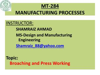 MT-284 MANUFACTURING PROCESSES