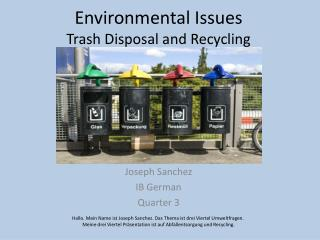 Environmental Issues Trash Disposal and Recycling
