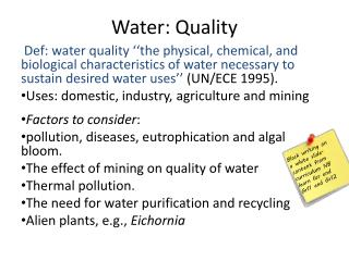 Water: Quality