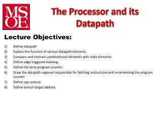 The Processor and its  Datapath