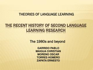 THE RECENT HISTORY OF SECOND LANGUAGE LEARNING RESEARCH