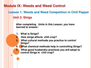 Module IX: Weeds and Weed Control