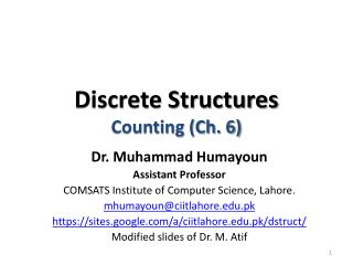 Discrete Structures Counting (Ch. 6)