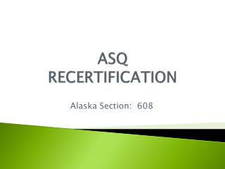 ASQ RECERTIFICATION