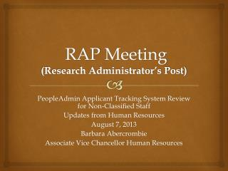 RAP  Meeting (Research Administrator's Post)
