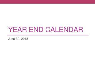Year End Calendar