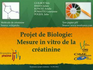 Projet de Biologie: Mesure in vitro de la cr�atinine