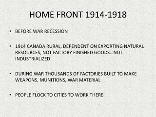 HOME FRONT 1914-1918