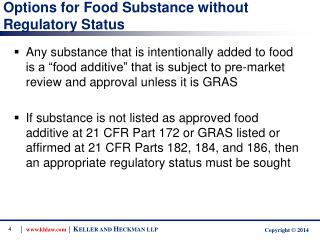 Options for Food Substance without Regulatory Status