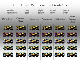 Unit Four - Words  11-20  -  Grade Six