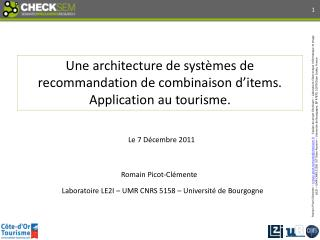 Laboratoire LE2I – UMR CNRS 5158 – Université de Bourgogne