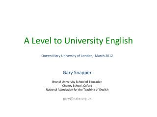 A Level to University English