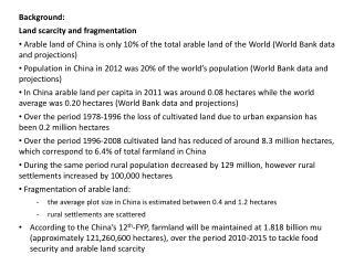 Background : Land scarcity and  fragmentation