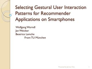 Selecting Gestural User Interaction Patterns for Recommender Applications on Smartphones