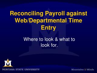 Reconciling Payroll against Web/Departmental Time Entry