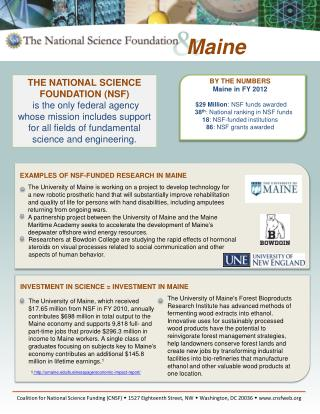 EXAMPLES OF NSF-FUNDED RESEARCH IN  MAINE