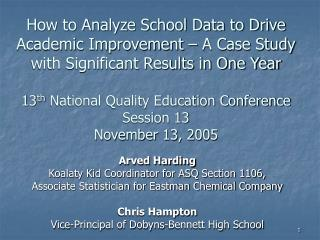 How to Analyze School Data to Drive Academic Improvement   A Case Study with Significant Results in One Year  13th Natio