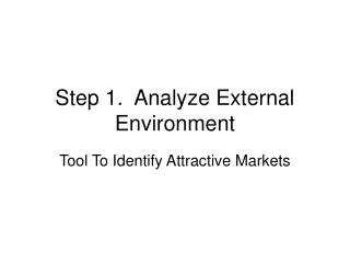 Step 1.  Analyze External Environment
