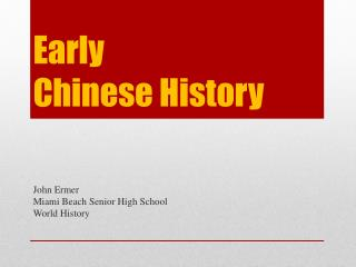 Early  Chinese History