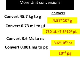 More Unit conversions