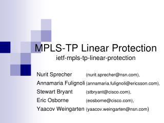 MPLS-TP Linear Protection ietf-mpls-tp-linear-protection
