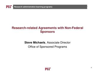 Research-related Agreements with Non-Federal Sponsors