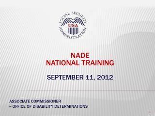 NADE  National Training September 11, 2012