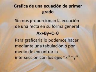 Grafica de una ecuación de primer grado
