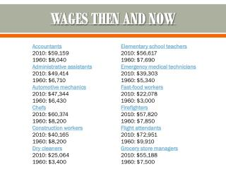 WAGES THEN AND NOW