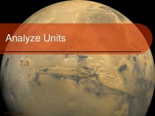 Analyze Units