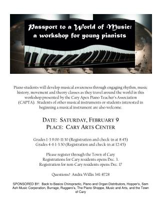 Passport to a World of  Music: a workshop for young pianists