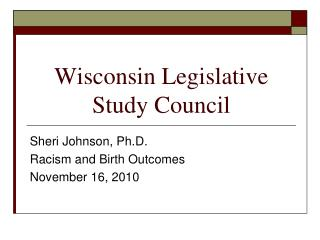 Wisconsin Legislative Study Council