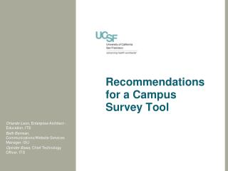 Recommendations for a Campus  Survey  T ool