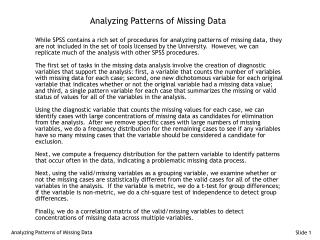 Analyzing Patterns of Missing Data