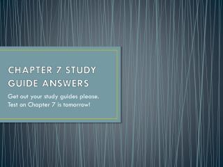 CHAPTER 7 STUDY GUIDE ANSWERS