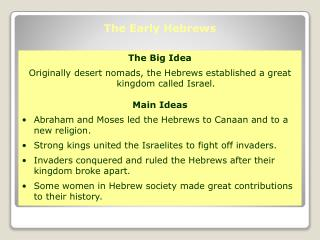 The Early Hebrews