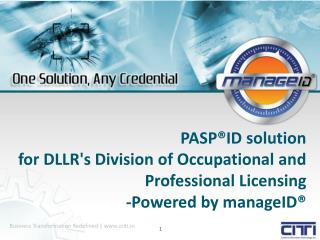 PASP®ID  solution  for  DLLR's Division of Occupational and Professional Licensing