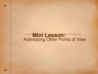 Mini Lesson: