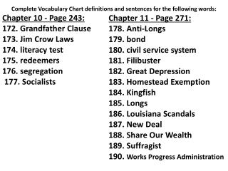 Chapter 11 - Page 271: 178.  Anti-Longs 179.  bond 180.  civil service system 181.  Filibuster