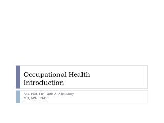Occupational Health Introduction