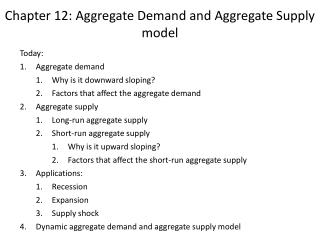 Chapter 12: Aggregate Demand and Aggregate Supply model