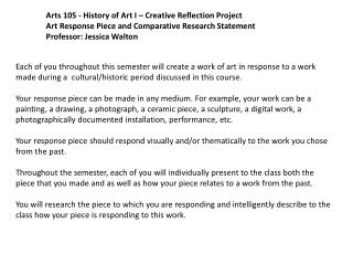 Arts 105 - History of Art I – Creative Reflection Project