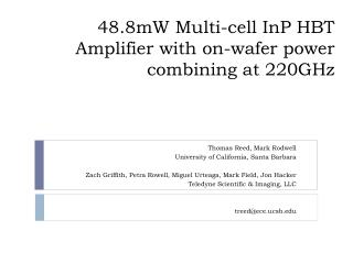 48.8mW Multi-cell  InP  HBT Amplifier with on-wafer power combining at 220GHz