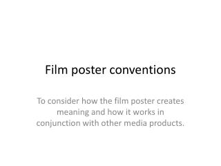 Film poster conventions