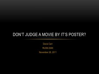 Don't judge a movie by it's poster?